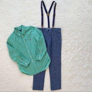 BUNDLE H&M pants suspenders Ralph Lauren shirt